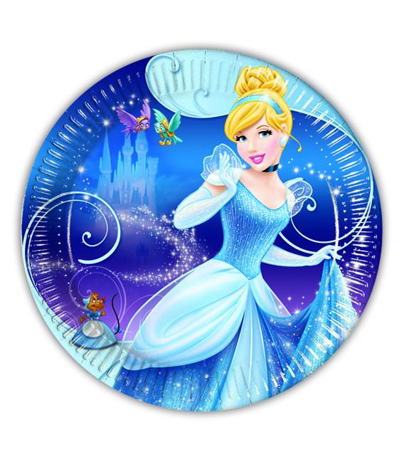 Piatto Piano Piccolo di Carta 20 cm Cenerentola Disney