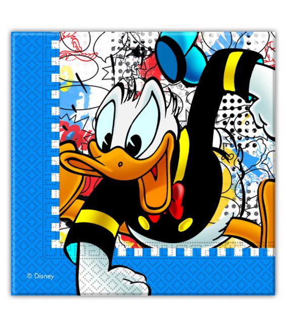 Tovagliolo 33 x 33 cm 2 Veli Donald Duck 3 Pz Disney
