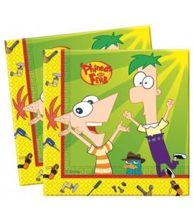 Tovagliolo 33 x 33 cm 2 Veli Phineas and Ferb Disney