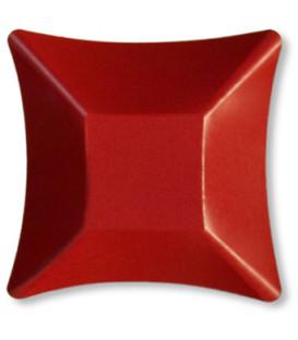 Coppetta Quadrata Piccola di Carta Rosso Satinato 11,6 x 11,6 cm
