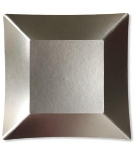 Piatti Piani di Carta Quadrati Piccoli Argento Satinato Wasabi