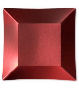 Piatti Piani di Carta Quadrati Piccoli Rosso Satinato Wasabi 19 x 19 cm
