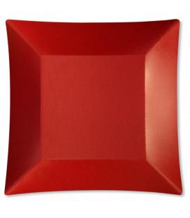 Piatti Piani di Carta Quadrati Piccoli Rosso Satinato Wasabi