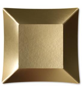 Piatti Piani di Carta Quadrati Piccoli Oro Satinato Wasabi 19 x 19 cm
