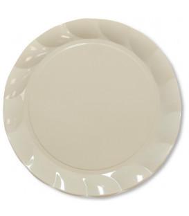 Piatti Piani di Plastica a Petalo Panna 26 cm 5 confezioni