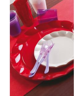 Piatti Piani di Plastica a Petalo Rosso 20 cm