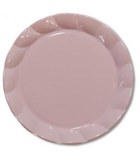 Piatti Piani di Plastica a Petalo Rosa 26 cm