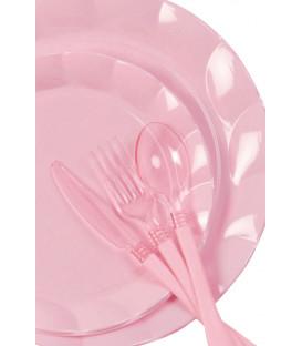 Piatti Piani di Plastica a Petalo Rosa 26 cm 5 confezioni