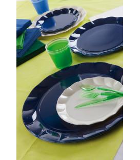 Piatti Piani di Plastica a Petalo Blu Notte 26 cm 5 confezioni