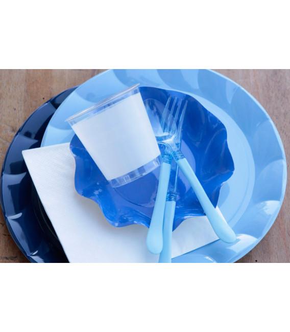 Piatti Piani di Plastica a Petalo Blu Notte
