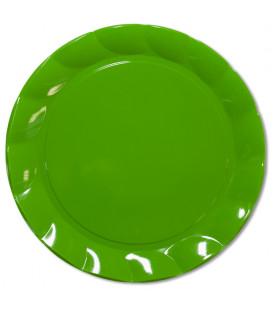 Piatti Piani di Plastica a Petalo Verde 34 cm