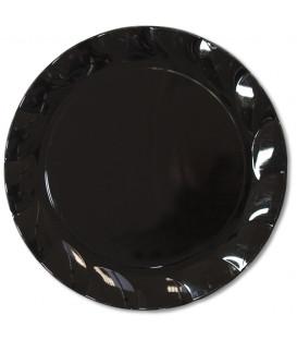 Piatti Piani di Plastica a Petalo Nero 34 cm