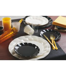 Piatti Piani di Plastica a Petalo Nero 34 cm 2 confezioni