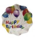 Piatti Fondi di Carta a Petalo Happy Birthday 18,5 cm
