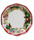 Piatti Piani di Carta a Petalo Jingle Bells 27 cm
