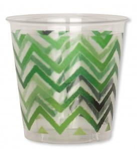 Bicchieri di Plastica Chevron Verde 300 cc 3 confezioni