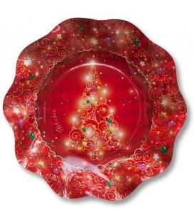 Piatti Fondi di Carta a Petalo Natale in Rosso