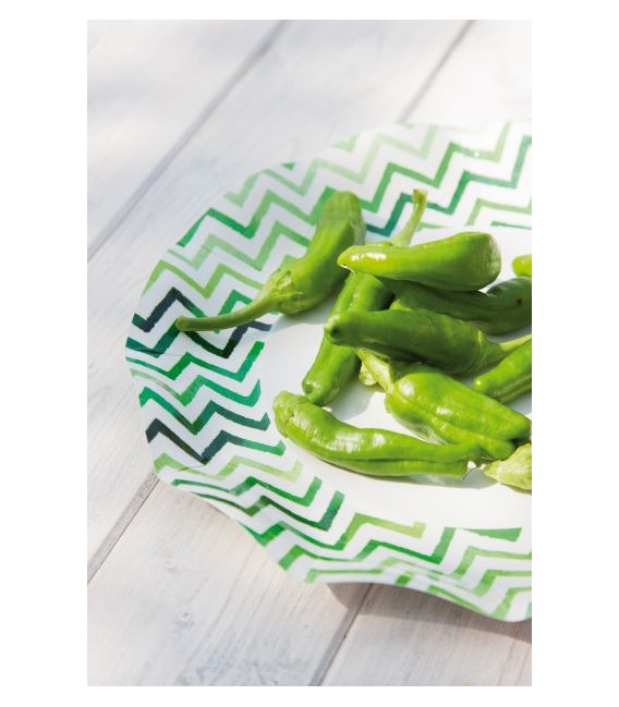 Piatti Piani di Carta a Petalo Chevron Verde 27 cm