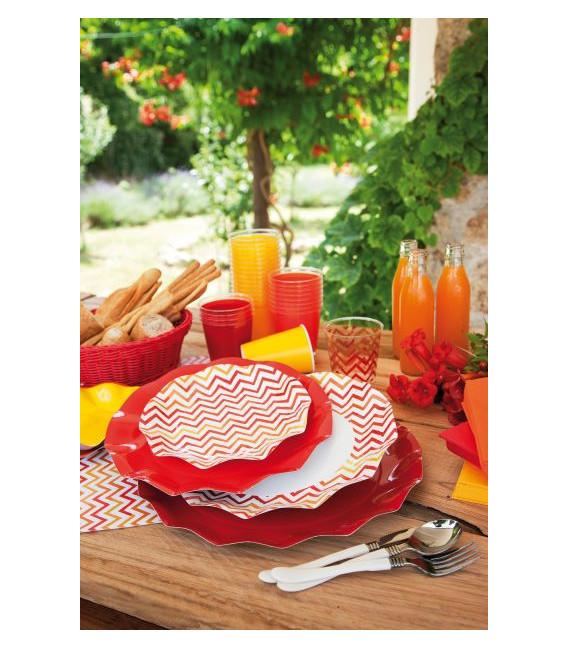 Piatti Piani di Carta a Petalo Chevron Rosso 27 cm