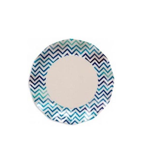Piatti Piani di Carta a Petalo Zig Zag Blu 27 cm