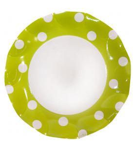 Piatti Piani di Carta a Petalo Pois Verde Lime