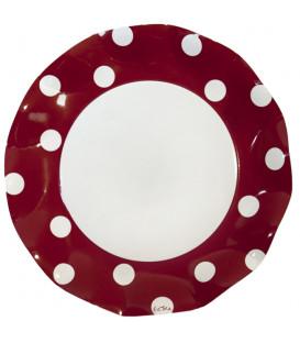 Piatti Piani di Carta a Petalo Pois Rosso