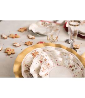 Piatti Fondi di Carta a Petalo Gingerbread 24 cm