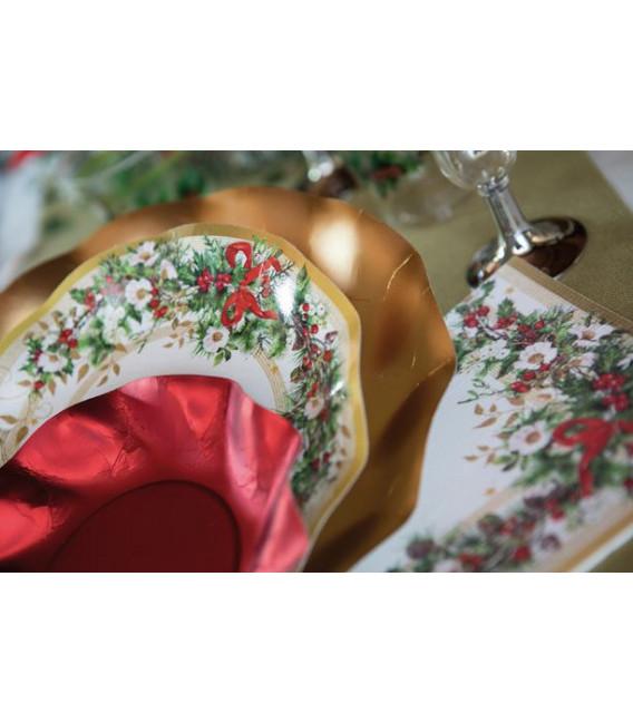 Piatti Fondi di Carta a Petalo Ghirlanda di Natale