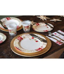 Piatti Piani di Carta a Righe Natale Patchwork 27 cm 2 confezioni