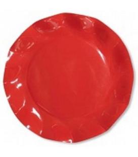 Piatti Piani di Carta a Petalo Rosso Corallo