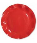 Piatti Piani di Carta a Petalo Rosso Corallo 24 cm