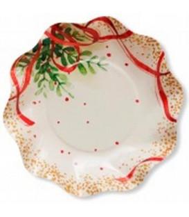 Piatti Fondi di Carta a Petalo Christmas Bouquet