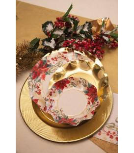 Piatti Fondi di Carta a Petalo Natale Romantico 24 cm