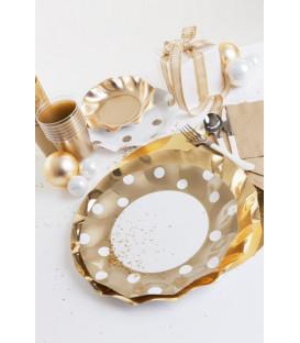 Bicchieri di Plastica Pois Oro 300 cc