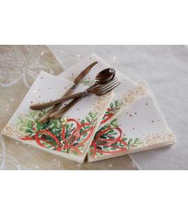 Tovaglioli 3 Veli Christmas Bouquet 33x33 cm 3 confezioni