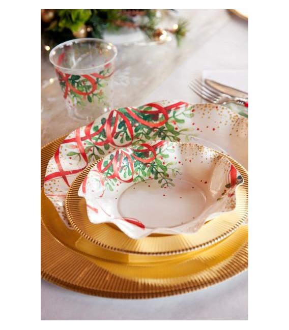 Piatti Piani di Carta a Petalo Christmas Bouquet 21 cm