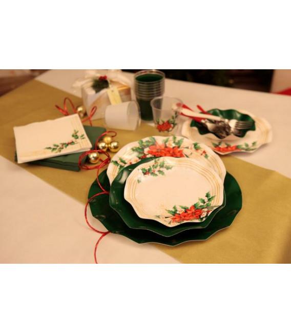 Piatti Piani di Carta a Petalo Fiori di Natale 21 cm
