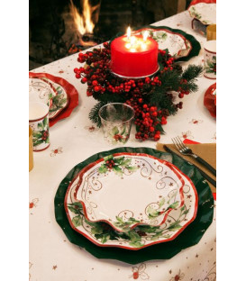 Piatti Piani di Carta a Petalo Christmas Style 24 cm