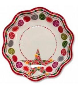 Piatti Fondi di Carta a Petalo Happy Christmas 24 cm 2 confezioni