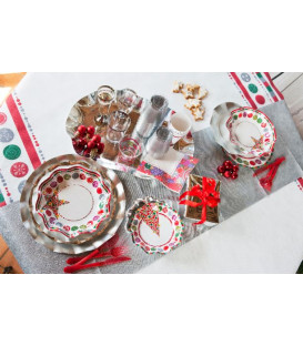 Piatti Fondi di Carta a Petalo Happy Christmas 24 cm