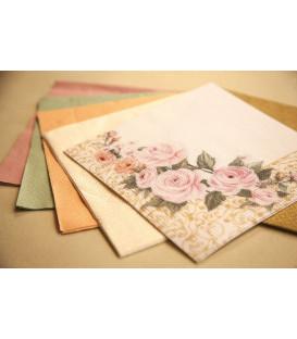 Tovaglioli 3 Veli Rose Flower 33 x 33 cm 3 confezioni