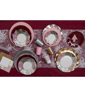 Piatti Piani di Carta a Petalo Rose Gold Christmas