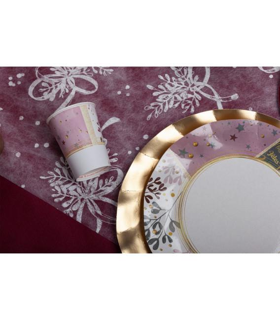 Piatti Fondi di Carta a Petalo Rose Gold Christmas 24 cm