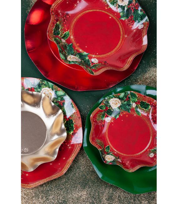 Piatti Fondi di Carta a Petalo Elegance Christmas 18,5 cm
