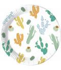Piatti Piani Grandi di Carta 23 cm a Righe Cacti Compostabile