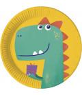Piatti Piani Grandi di Carta 23 cm a Righe Dinosauro Compostabile