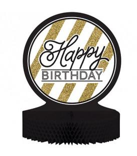 Centrotavola Happy Birthday Black & Gold