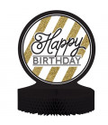 Centrotavola Happy Birthday Black & Gold
