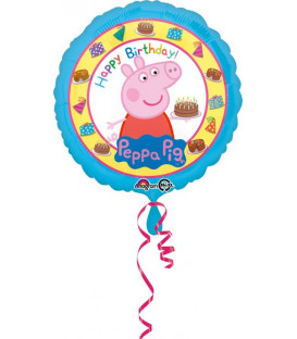 "Pallone foil standard 17"" - 42 cm Peppa Pig Happy Birthday"