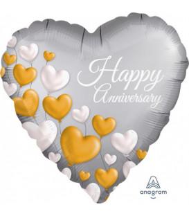 Pallone foil standard cuore Happy Anniversary